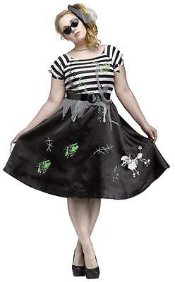 Plus Size Skeleton Costume (Zombie Sock Hop Halloween Costume 50's Poodle Skirt Skeleton Dog Plus Sz 1X)
