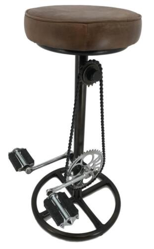 Retro Recycled Bar Stool Bicycle Pedals Foot Rest Iron Base Leather Seat
