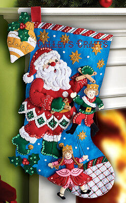 Bucilla Christmas Puppet Show 18 Felt Stocking Kit 86327, Santa, 2012