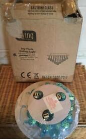 Flush Ceiling Pendant Light - Duck Egg Blue - New & Boxes