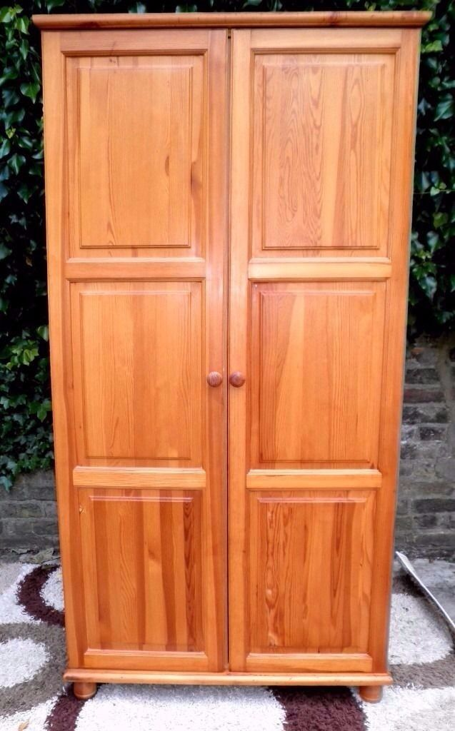 SOLID PINE HIGH QUALITY WARDROBE GREAT COLOUR AND VERY SOLID AND HEAVY QUALITY PIECE V.G.C.