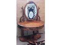 Antique demi lune dressing table with mirro