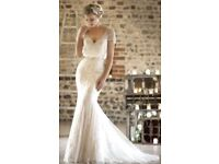 True Bride W225 Rum Pink/Ivory Wedding Dress and Veil - size 14 altered smaller.