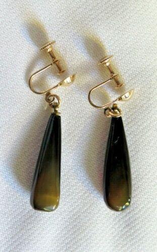 Vtg  Earrings 14Kt. Gold Onyx  Norwegian Screw on