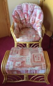 Single conservatory wicker chair with wicker stool to match