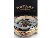 Rotary Automatic Skeleton Dial Watch - Rose Gold