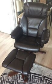 Leather massage chair & footstool
