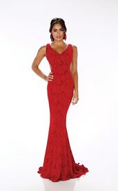 MON CHERI RED PROM/COCKTAIL DRESS SIZE 8/10 ONLY WORN ONCE £150 ONO