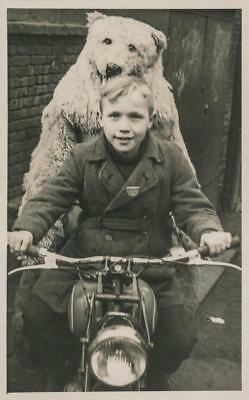 Old Photo.  Boy & Person in Polar Bear Costume on Motorcycle](Old Person Costumes)