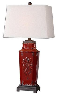 Designer Classic EMBOSSED RED Table Lamp Distressed Antique Ceramic