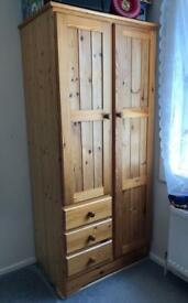 Solid & Pure Wood Beautiful 2 Door Large Wardrobe with 3x Drawers, Hanging Space & Shelves RRP £350