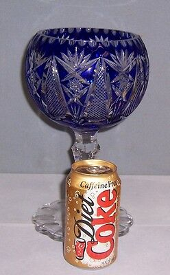 """Bohemian Glass Cobalt Cut To Clear Crystal Chalice Style Compote 10 1/2 """" Tall"""
