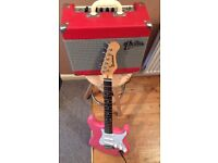 Pink Electric Guitar and Retro Amp 15w