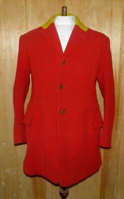 """Vintage Gents 44"""" Red Wool Hunt Jacket With Pendle Forest & Craven Hunt Buttons"""