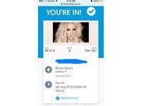 Britney Spears Concert tickets x2 London O2 arena Saturday 25th August