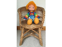 Vintage child's natural wicker chair. Also ideal for displaying dolls and teddies. £5 ovno.