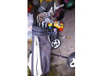 GOLF BUNDLE,TROLLEY,BAG AND PUTTS,CLUBS
