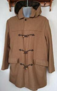 L MENS MaCMOR DuFFEL COAT Canada 42 44 Camel L BROWN Wool Hood Vtg Jacket duffle Winter Mans Whiskey Tone Retro Vintage