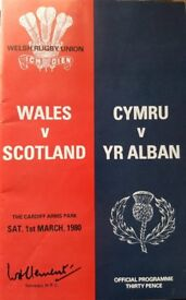 Rugby Union Programme: Wales v Scotland 1980