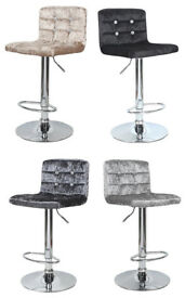 *£40* New CRUSHED VELVET WITH DIAMANTE CUBAN Kitchen Stools Swivel Dining Home Stool Chair Barstool