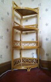Cane and rattan corner shelf