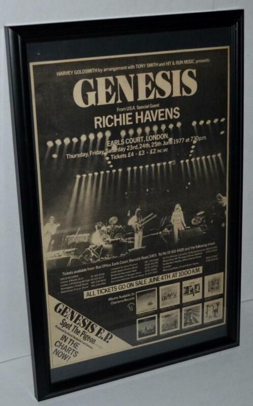 GENESIS 1977 RICHIE HAVENS EARLS COURT LONDON CONCERTS FRAMED PROMO POSTER / AD