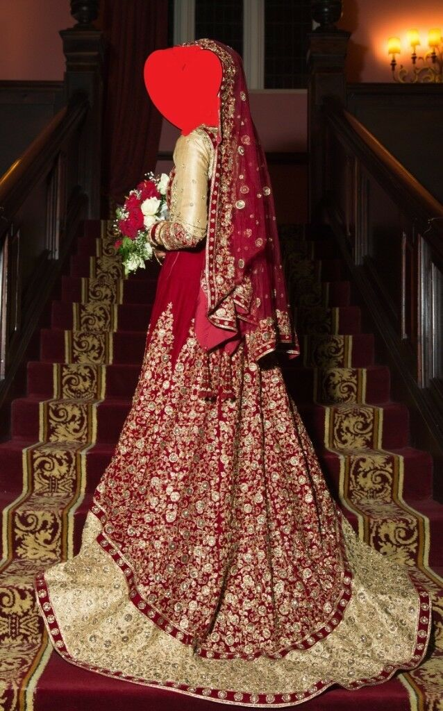 Traditional Red And Gold Asian Bridal Wedding Dress