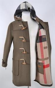 NWT BURBERRY BRIT MEN'S WOOL NOVA CHECK HOODED DUFFLE TOGGLE COAT JACKET~L