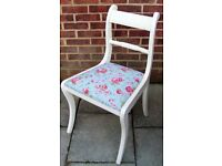 Stunning Shabby Chic Regency Dining/Living/Bedroom Chair Painted in Antique White/Cream/Flint