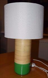 Habitat Green Spun Bamboo Table Lamp With Fabric Shade