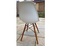 Vitra Eames DSW Chair White Wooden Legs