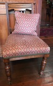 Antique oak bedroom or occasional/hall chair Laura Ashley fabric