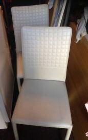 2 X dining kitchen chair white cream