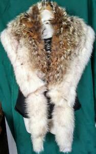 "Oakville 72"" REAL FUR STOLE Wrap COYOTE & FOX FUR Upcycled COSPLAY Brown & Cream  Lined"