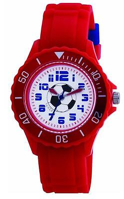 TIKKERS CHILDREN'S STUNNING FOOTBALL DIAL RED SILICONE STRAP WATCH -  TK0028