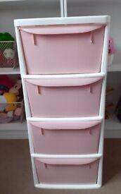 Pink 4 drawer storage tower vgc 2 months old