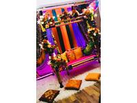 Asian wedding stages, Mehndi decor, tables and hall decoration, marquee hire, furniture hire