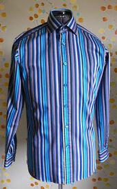 John Francomb Shirt, Milan 2 Button Collar size 15, Slim Fit, Button Cuff, Striped, Like New