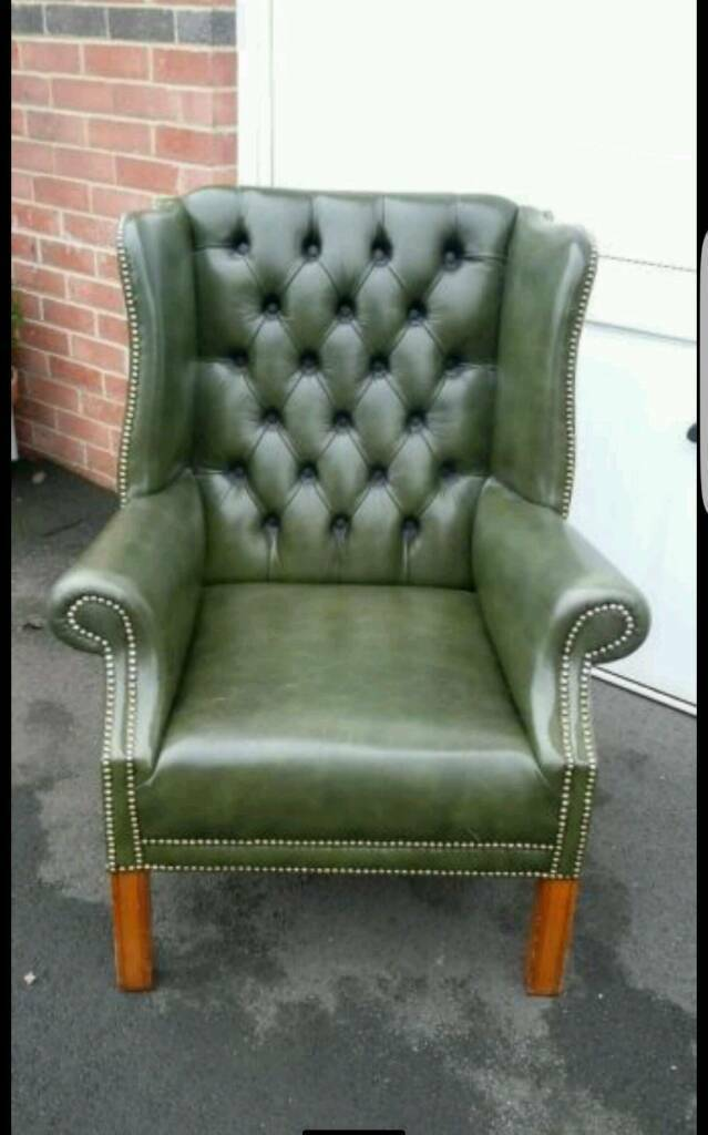 Magnificent Chesterfield Green Leather Wingback Chair In Caerphilly Camellatalisay Diy Chair Ideas Camellatalisaycom