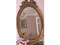 Large Oval Gold Gilt French Style Mirror