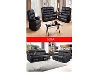 NEW NEWYORK FULL BONDED LEATHER RECLINER 3+2+1 SOFA IN BLACK AND BROWN COLORS
