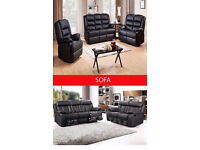 EXCLUSIVE NEW LUXURY BOSTAN RECLINER SOFA IN BLACK AND BROWN COLOR WE COVER ALL AREAS