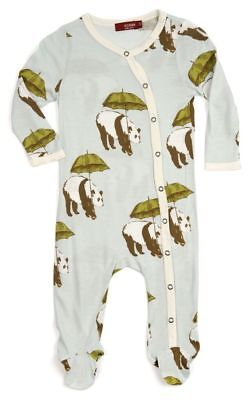Milkbarn Infant Baby Footed Romper Blue Panda 6-9 Months Brand New