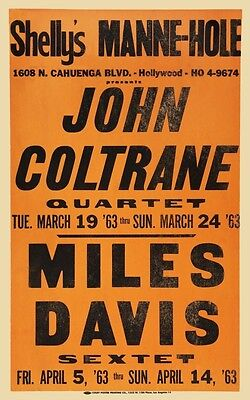 Miles Davis POSTER John Coltrane live JAZZ at Shelly's Manne Hole VINTAGE IMAGE