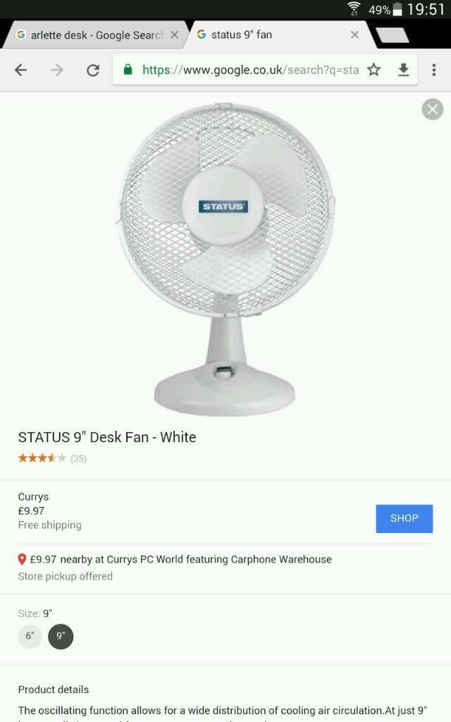 "Brand new ""Status"" 9"" oscillating desk fan"