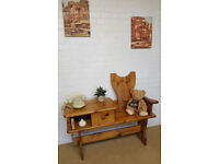 SOLID PINE SINGLE BENCH SEAT/PEW/TABLE WITH STORAGE DRAW/HALL SEAT
