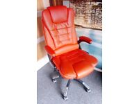 Luxury Red Faux Leather Executive Office Chair with Heat and Massage feature