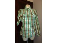 The North Face woman's green checked shirt size M 12-14