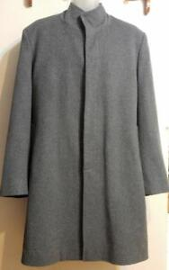 Mens L NEHRU COLLAR Long Wool Coat Jacket GRAY LARGE Tall 42 44 Custom-Made Oakville Excellent quality