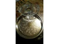 SILVER PLATED VINTAGE SERVING TRAY